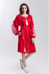Сукня «Дерево життя» червоного кольору довжини міді