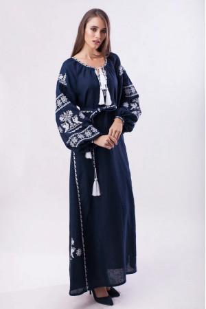 Платье «Волшебная птица» темно-синее с белой вышивкой