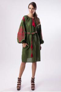 Платье «Цветущий сад» зеленого цвета