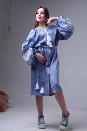 Сукня «Дерево життя» кольору джинс довжини міді