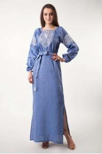 Платье «Творимир» цвета джинс с длинным рукавом