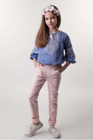 Вишиванка для дівчинки «Софійка» кольору джинс