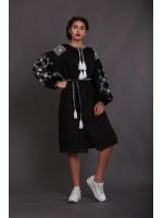 Сукня «Вечірня зоря» чорна з вишивкою білого кольору