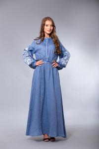 Сукня «Дерево життя» кольору джинс довга