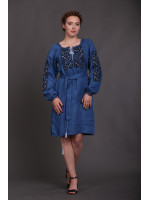 Платье «Цветочный сад» цвета индиго
