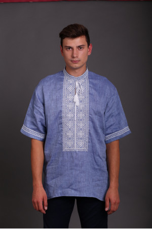 Вышиванка «Отвага» голубого цвета