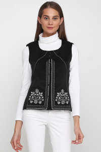 Камізелька «Мольфарка» чорного кольору з біло-сірою вишивкою