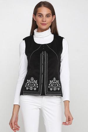 Жилет «Мольфарка» черного цвета с бело-серой вышивкой