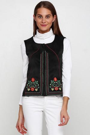 Камізелька «Мольфарка» чорного кольору з різнобарвною вишивкою
