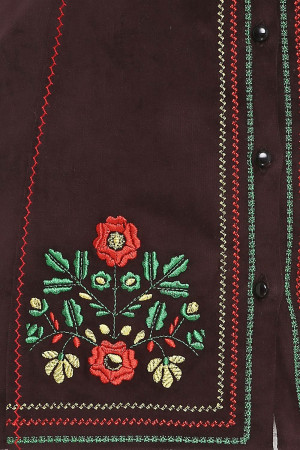 Камізелька «Мольфарка» темно-коричневого кольору з різнобарвною вишивкою