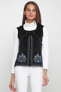 Жилет «Мольфарка» черного цвета с бело-синей вышивкой