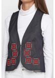 Камізелька «Гармонія» кольору джинс  з біло-червоною вишивкою