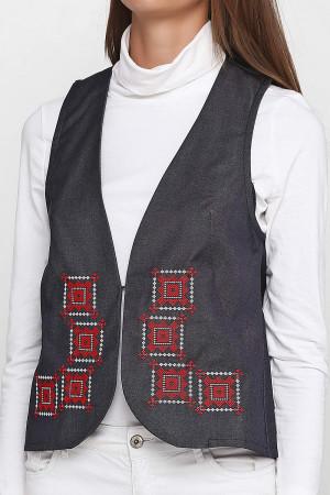 Жилет «Гармония» цвета джинс с бело-красной вышивкой