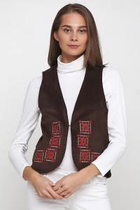 Камізелька «Гармонія» темно-коричневого кольору з біло-червоною вишивкою (вельвет)
