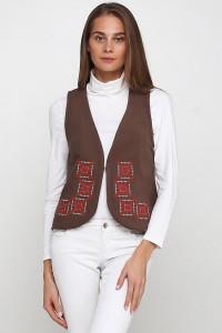 Камізелька «Гармонія» коричневого кольору з біло-червоною вишивкою
