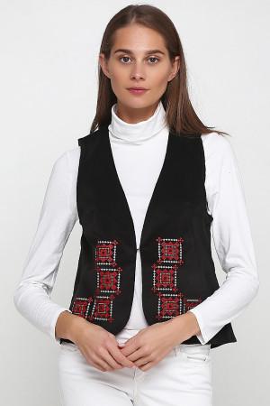 Жилет «Гармония» черного цвета с бело-красной вышивкой (велюр)