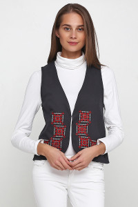 Камізелька «Гармонія» темно-сірого кольору  з біло-червоною вишивкою