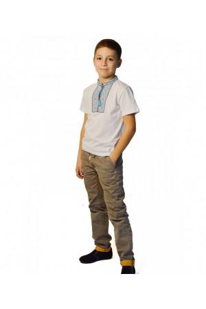 Футболка для хлопчика «Назар» з синьо-блакитним візерунком