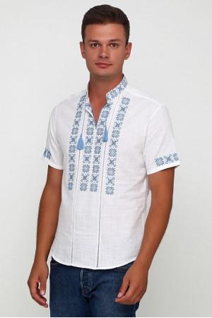 Вышиванка «Звезды» белая с вышивкой голубого цвета КР