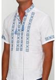 Вишиванка «Зорі» біла з вишивкою блакитного кольору КР