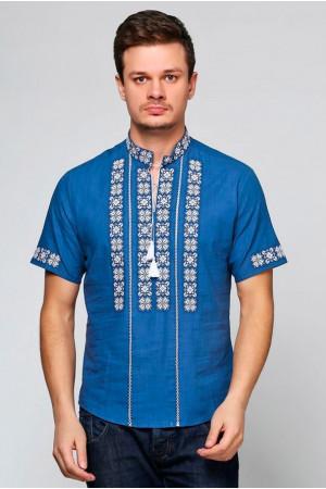 Вишиванка «Зорі» синя з вишивкою білого кольору КР