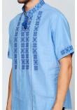 Вишиванка «Зорі» блакитна з вишивкою темно-синього кольору КР