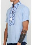 Вишиванка «Символ» блакитна з вишивкою біло-синього кольору КР