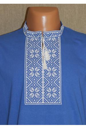 Футболка «Народна» блакитна з білим орнаментом КР