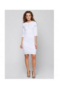 Платье «Традиция» с вышивкой серого цвета