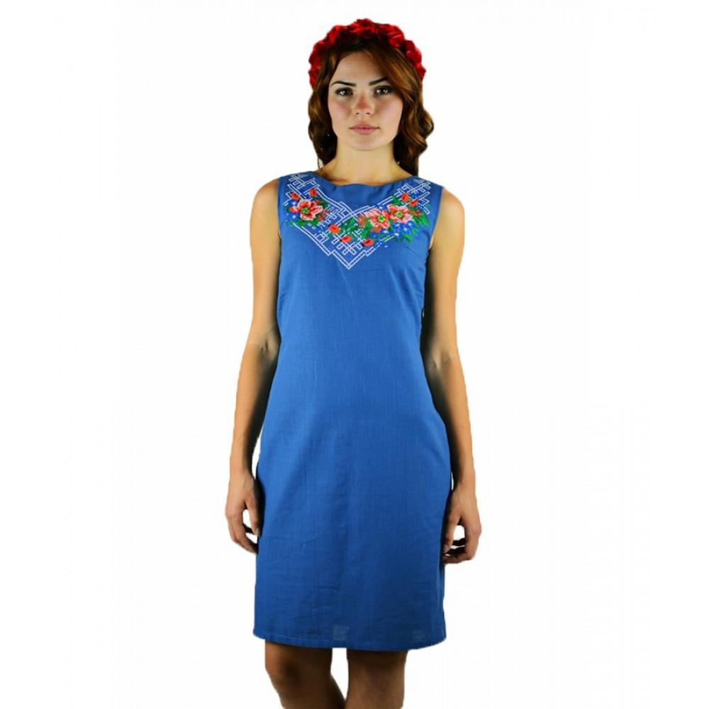 Сукня «Українські квіти» синього кольору – з вишивкою 19a27f1d89fea