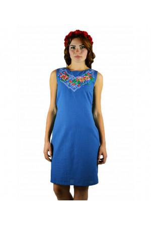 Сукня «Українські квіти» синього кольору