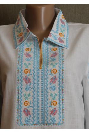 "Вишиванка ""Зореслава"" з блакитним орнаментом"
