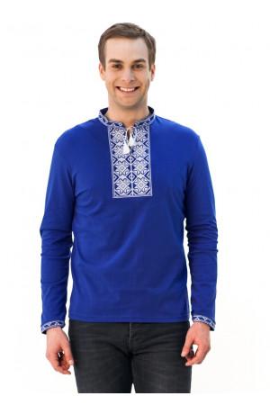 Футболка «Ромбы» синяя с вышивкой белого цвета