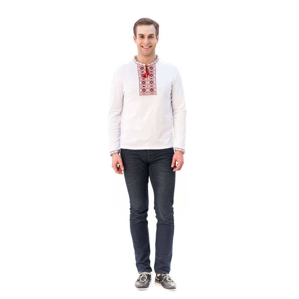 Футболка «Ромби» біла з вишивкою червоного кольору з довгим рукавом –  купити у Києві 7aec5369d1853