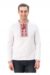 Футболка «Ромбы» белая с вышивкой красного цвета