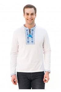 Футболка «Ромбы» белого с вышивкой синего цвета