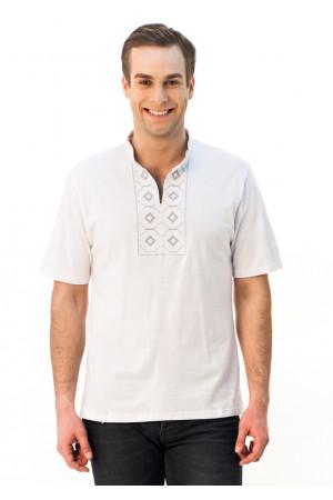 Футболка «Ромбы» белая с вышивкой серого цвета КР