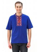 Футболка «Ромбы» голубая с вышивкой красного цвета КР