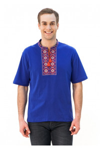 Футболка «Ромби» блакитна з вишивкою червоного кольору КР