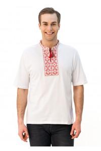 Футболка «Ромбы» с вышивкой красного цвета КР