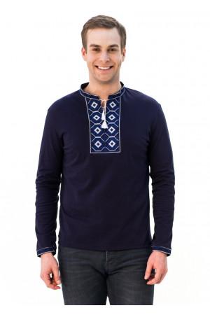 Футболка «Ромбы» темно-синяя с вышивкой синего цвета