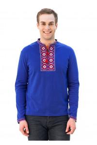 Футболка «Ромбы» синяя с вышивкой красного цвета