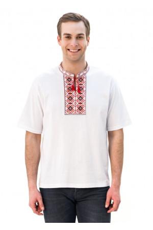 Футболка «Ромбы» белая с вышивкой красного цвета КР
