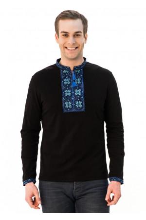 Футболка «Народная» черная с вышивкой синего цвета