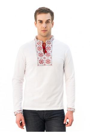 Футболка «Снежинка» белая с вышивкой красного цвета