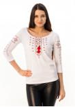 Футболка «Святкова» біла з вишивкою червоного кольору