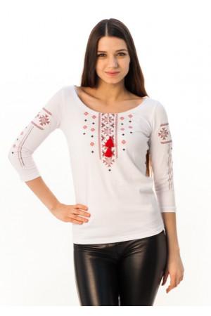 Футболка «Праздничная» белая с вышивкой красного цвета