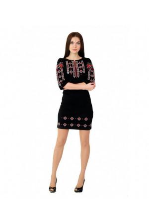 Платье «Традиция» с красно-белым орнаментом