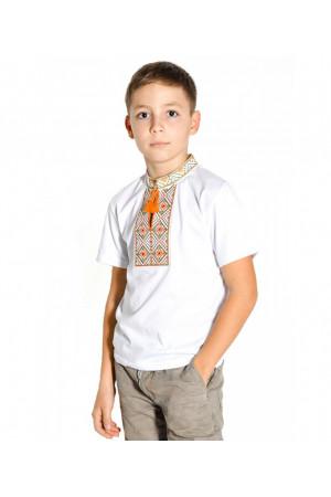 Футболка для хлопчика «Ромби»  з помаранчевим орнаментом