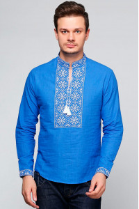 Вишиванка «Сніжинка» синього кольору з білим орнаментом, ДР